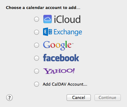 Add a New Account in the Calendar app.