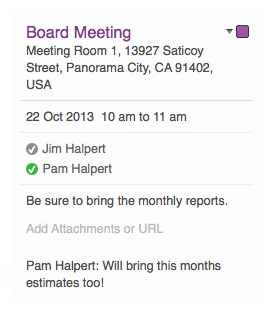The Board Meeting event as it appears in the Calendar app.