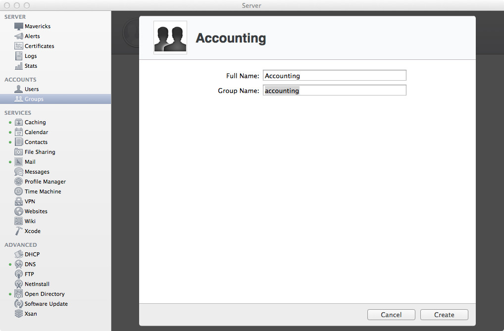 Groups: Adding the Accounting Group.