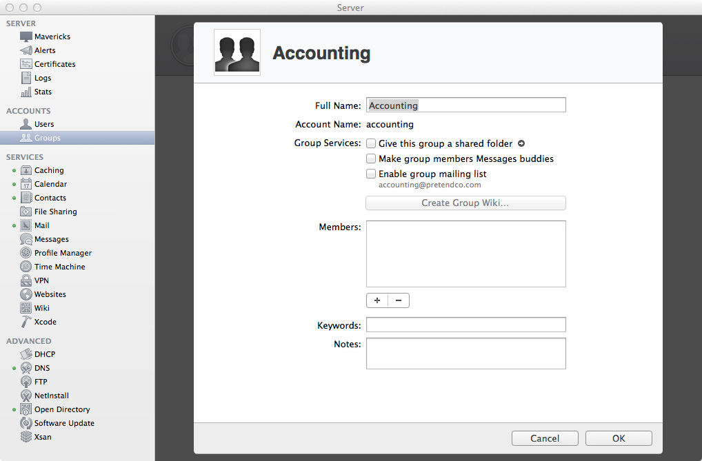 Groups: Edit the Accounting Group