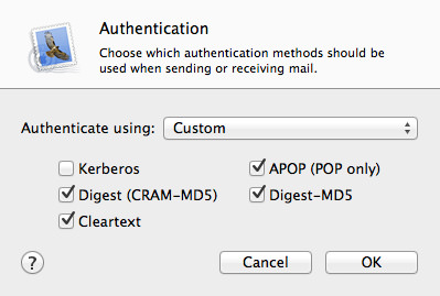 Mail Authentication Settings.