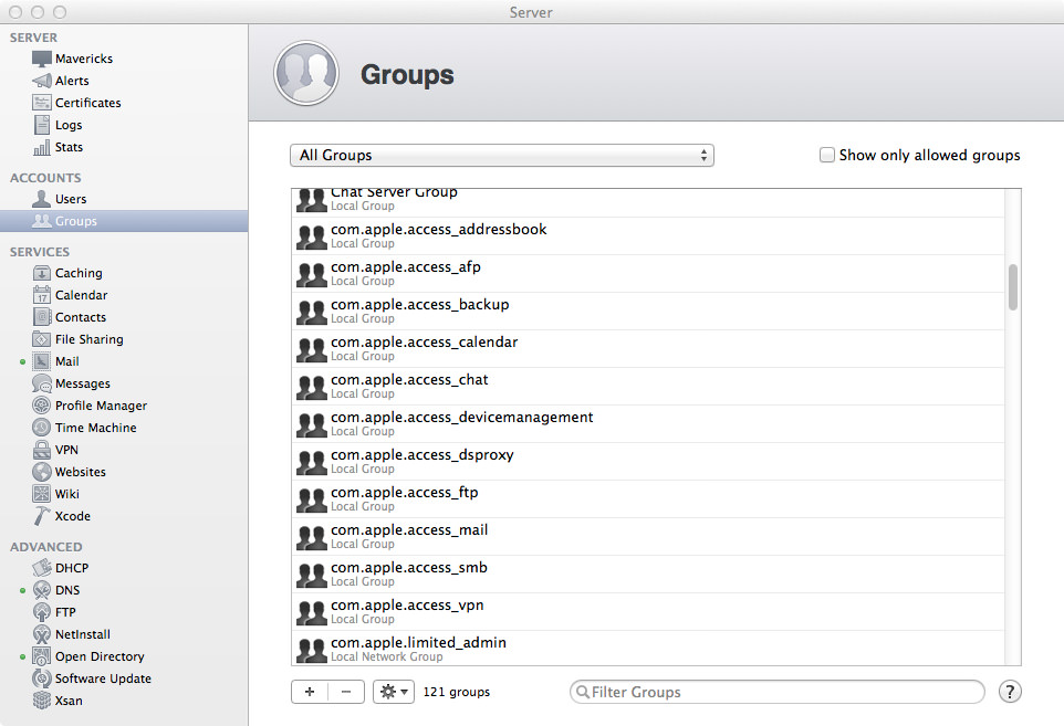 The SACL Groups in OS X Server.