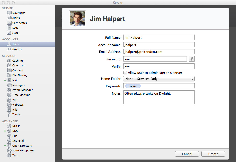 Adding a New User: Jim Halpert.