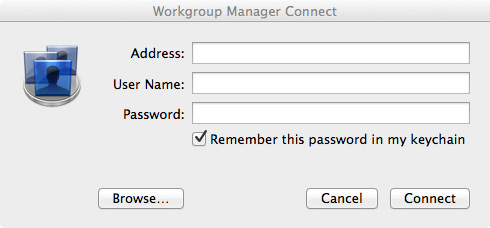 Workgroup Manager: Connect to Server.